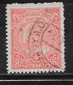 India- Travancore #48 8ca rose red (U) CV $3.00