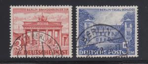 Germany Sc 9N59-9N60 used 1949 Berlin definitives, top 2 values VF