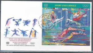 UNITED NATIONS 1996 VIENNA ISSUE  OLYMPIC  S/S FIRST DAY COVER