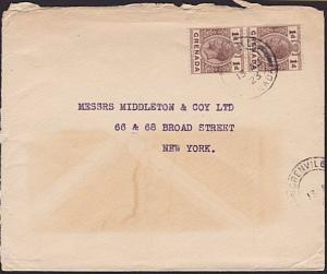GRENADA 1923 cover to USA - GRENVILLE village cds...........................6483