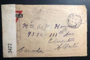 1917 Fieldpost Canada YMCA Censored OAS WW1 Cover to Edmonton