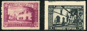 Spain Scott 441,445 Unused - 1930 Spanish-American Union Exhibition - SCV $4.25