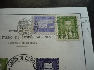 Stamps -Cuba- Scott# C49c - Used Post Office Announcement with6 Stamps - Imperf