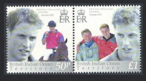 BIOT 21st Birthday of Prince William 2v pair SG#286-287