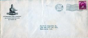 US Scott 784 on 1936 Cover with Ad Corner Card for Pittsburgh Coal Company