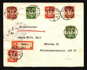 Danzig SC# B9 - B11 (x2) On 1934 Registered Cover (CV $500) - Z17113