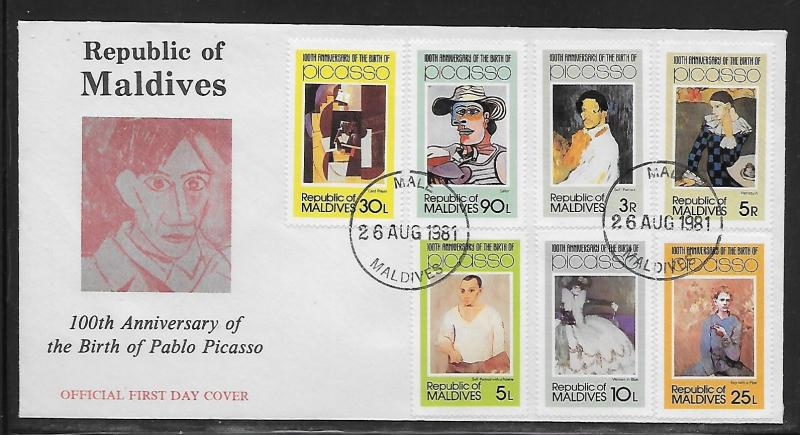 Maldives 913-19 Picasso Paintings Unaddressed FDC
