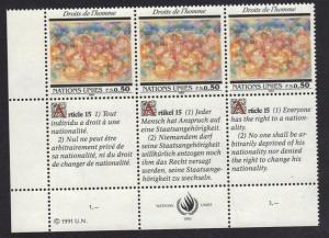 United Nations Geneva 1991 MNH     50c x3    #