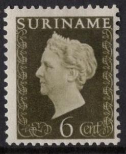 Surinam   #218   MH  1948  Wilhelmina  6c