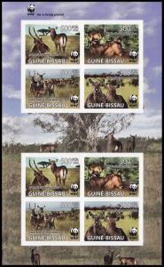 Guinea-Bissau WWF Defassa Waterbuck Imperforated Sheetlet of 2 sets MI#3919-3922