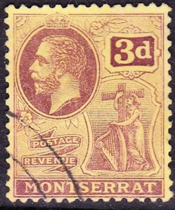 MONTSERRAT 1916 KGV 3d Purple/Yellow SG53, FINE USED. Cat £23