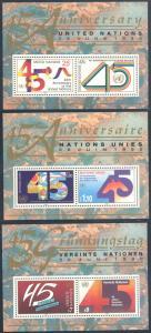 United Nations NY 579 - Geneva 190 - Vienna 105 MNH - 45th Anniversary