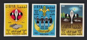 Libya 3rd Boy Scouts' Meeting Tripoli 3v Imperforated SG#278-280 MI#122B-124B
