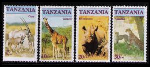 TANZANIA 1986 ENDANGERED WILDLIFE, FAUNA SC #319-322 CPL SET 4 MNH, NICE LOT