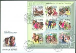 SOLOMON ISLANDS 2013 DUKES OF CAMBRIDGE WILLIAM AND KATE SHEET OF 9 II FDC