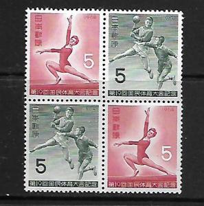 JAPAN  817a    MNH, BLOCK OF 4,19TH NATIONAL ATHETIC MEET1961