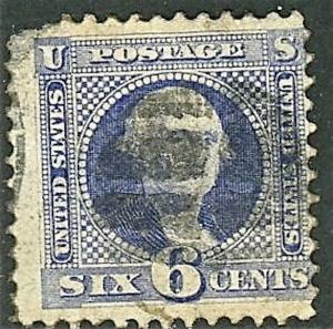 1869 US Stamp #115 A37 6c Used G Grill Catalogue Value $200