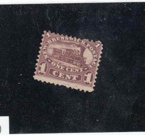 NEW BRUNSWICK # 6 F-MNGH 1cts MAY 15/1860 LOCOMOTIVE/ LILAC-RED CAT VALUE $20