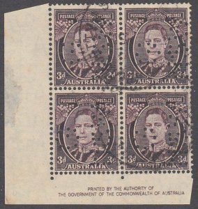 AUSTRALIA GV 3d imprint block of 4 used official perfin G/NSW...............2305