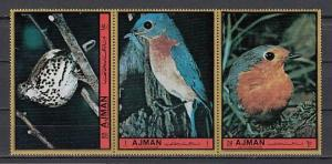 Ajman, Mi cat. 1921-1923 A. Songbirds issue. ^