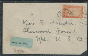 CAYMAN ISANDS (P1706B) 1941 KGI 3D COVER TO USA OPENED BY CENSOR LABEL,  SCARCE