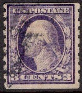 US Stamp #394 3c Washington Coil USED SCV $65