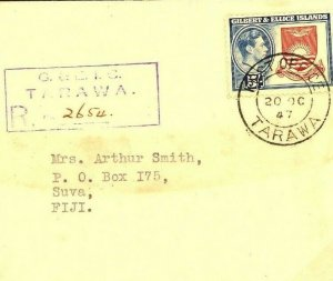 GILBERT IS Cover *Tarawa* Registered KGV Superb 5s High Values Fiji 1947 W296a