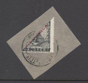 Azores Sc 127 bisect used on piece, 1912 cancel, 5c King Manuel II with red ovpt