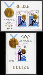 Belize SG MS 576 1980 Olympics Winners Mini sheets Fresh U/M