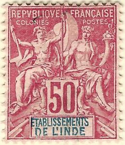 French India SC #16 F-VF Mint OG hr.....Exotic area of French Colonies!