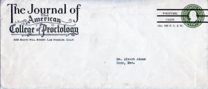 Scott U420 w/Ad Corner Card for Journal of The American College of Proctology
