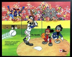 GAMBIA - 1991 - DISNEY - BASEBALL - MICKEY - DONALD + JAPAN - MINT MNH S/SHEET!