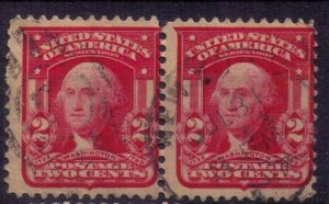 US SCOTT #319 USED VERT. PAIR TYPE II FINE