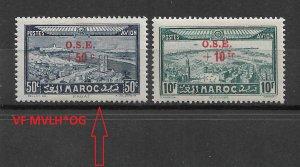 French Morocco 1938, Surcharged, Scott # CB22 VF MVLH*OG,,CB23,VF MNH** (FR-1)
