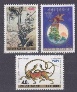 1989 North Korea  2983-2985 Happy New Year 3,00 €
