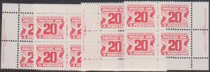 Canada - 1977 20c Postage Due PVA Imprint Blocks #J38