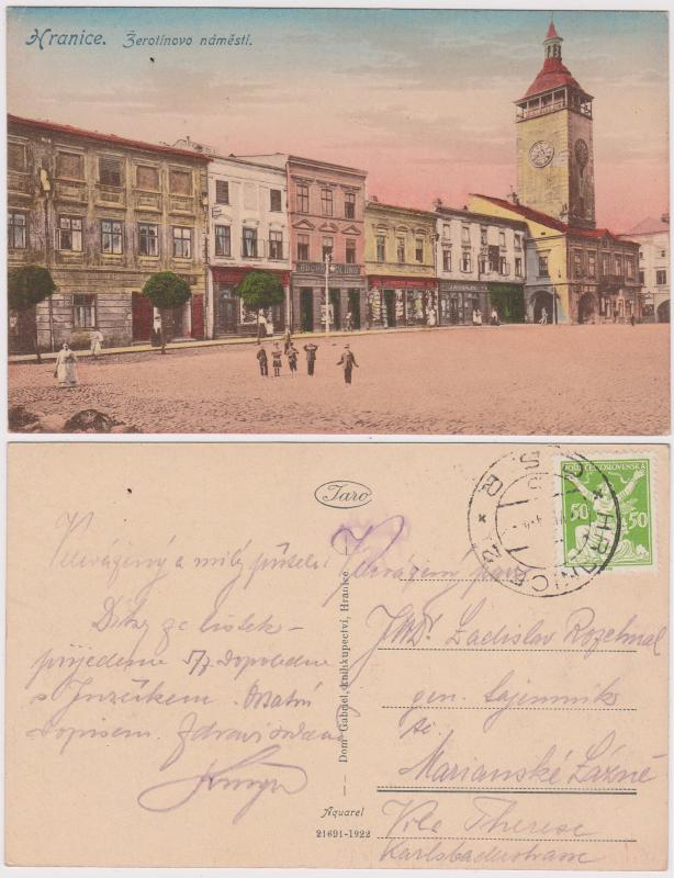 Czechoslovakia 1924 Postcard with HRANICE 2 CDS Photo of Town Square