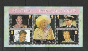 St Helena 2000 Royal Birthdays MS, VFU/CTO SG MS814