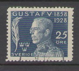 Sweden Sc B36 1928  25 ore 70th Birthday Gustaf V stamp used
