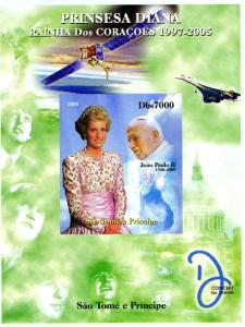 Sao Tome & Principe 2005 POPE JOHN PAUL II & PRINCESS DIANA DeLuxe s/s Mint (NH)