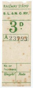(I.B) Sligo Leitrim & Northern Counties Railway : Parcel Stamp 3d
