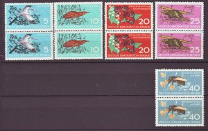 J22494 Jlstamps 1959 germany ddr set pairs mnh #434-8 wildlife