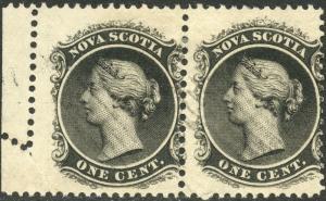 NOVA SCOTIA #8 VAR. 1¢ USED PAIR WITH FOLDOVER ERROR BN9909