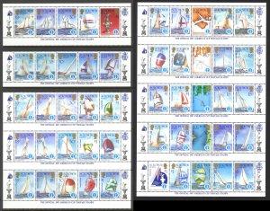 Solomon Islands Sc# 570-574 MNH Complete + split pane/25 1986 1987 America's Cup