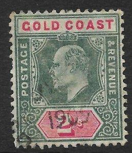 GOLD COAST SG45 1902 2/= GREEN & CARMINE USED