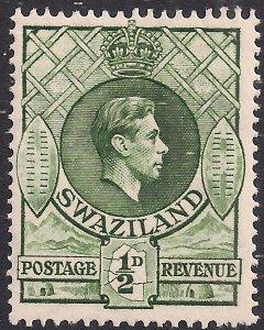 Swaziland 1938 - 54 KGV1  1/2d Bronze Green Umm SG 28b ( L1316 )