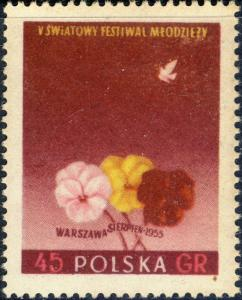 POLOGNE / POLAND - 1955 Mi924A 45gr perf. 5th Warsaw Youth Festival Mint/Fault