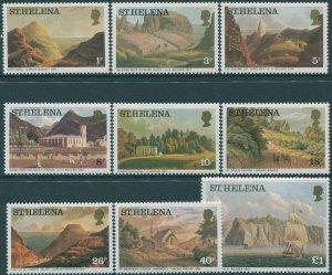 St Helena 1976 SG319B-330A Aquatints and Lithographs (9) MNH