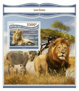 Central Africa - 2017 Lions - Stamp Souvenir Sheet - CA17812b