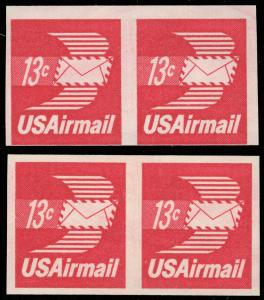 US SCOTT #C83a Imperf Horizontal Pair! SCV $65.00, Great Airmail from garyposner